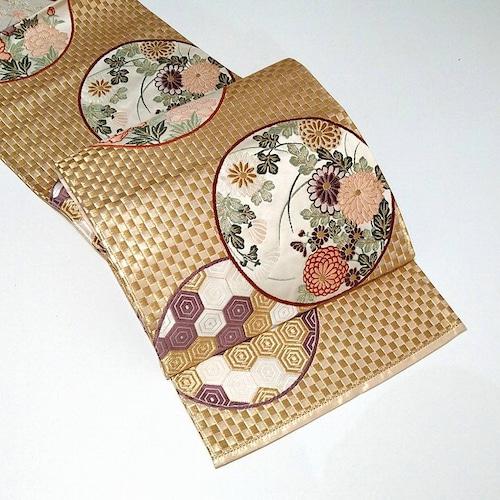 ★美品 袋帯 亀甲 金糸 市松 正絹 未使用 ★ c054 縁ちゃぶ