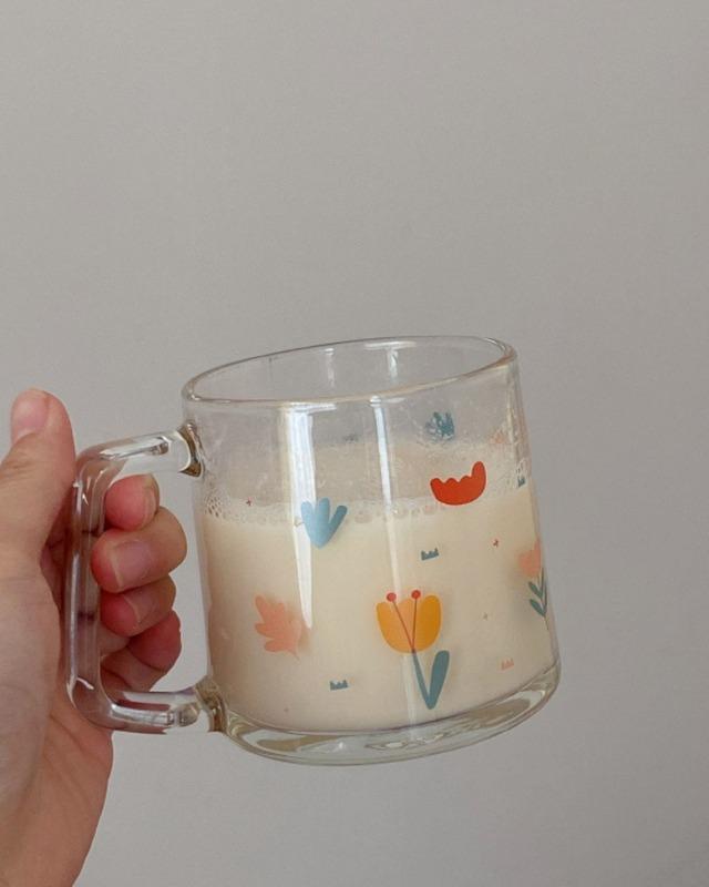 flower clear mug