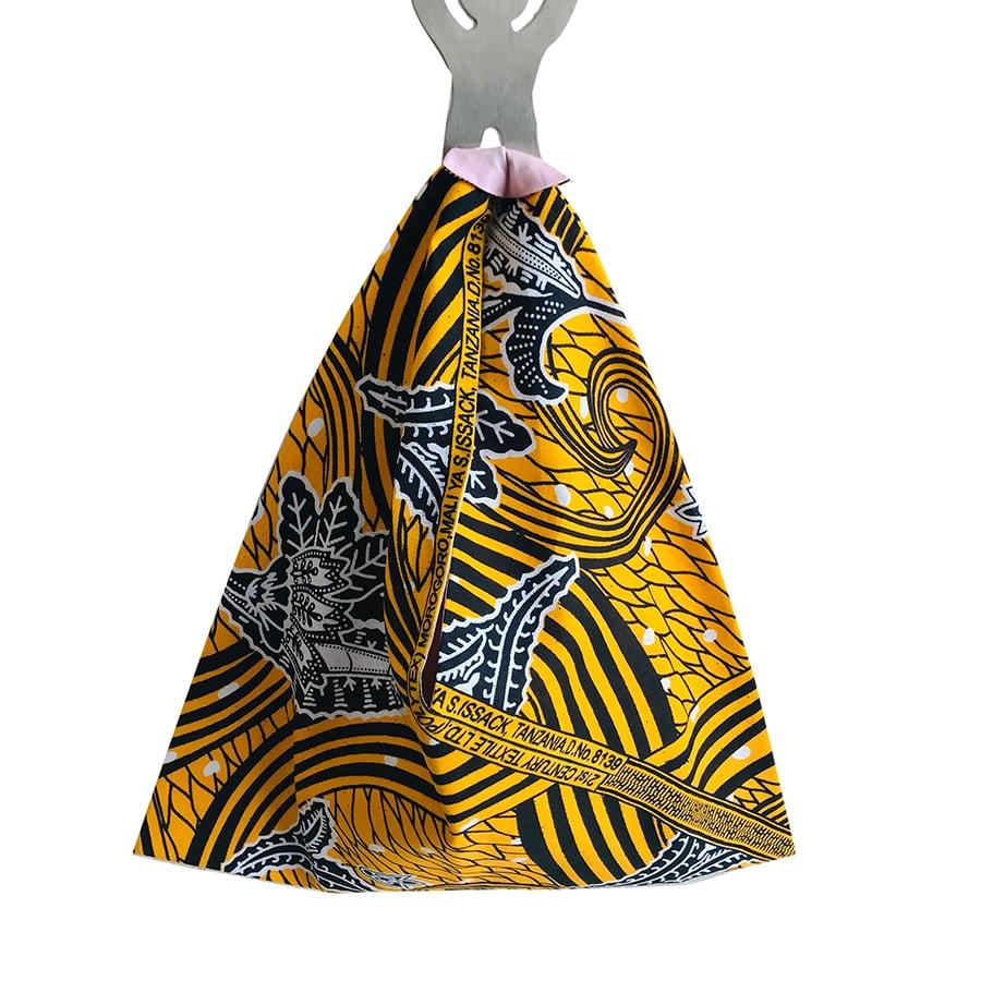 アフリカンプリント あずまバッグ  YL BK 葉柄
