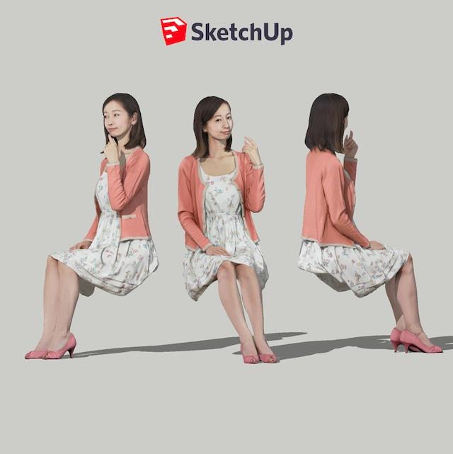 SketchUp素材 3D人物モデル ( Posed ) 091_Aya - メイン画像