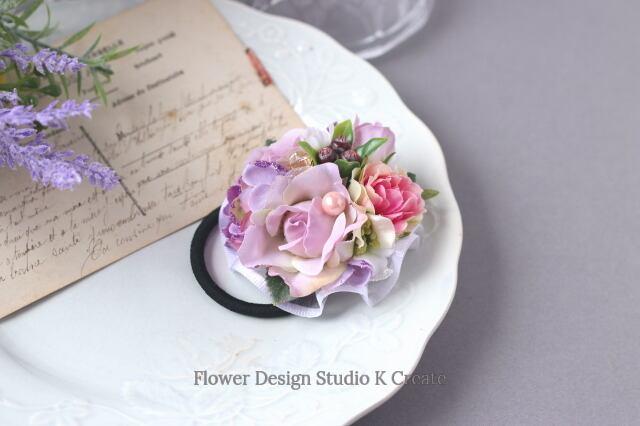 ペールピンクの薔薇と紫陽花のヘアゴム お花 ヘアゴム お花のヘアゴム ヘアゴム パール 髪飾り