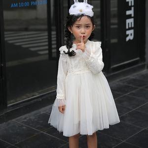 女の子 レースワンピース 長袖 キッズドレス ジュニア お姫様 ワンピース 女子中学生 小学生 参考身長110-160cm 8391