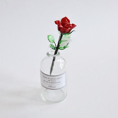 グラスフラワー「赤いバラ(小瓶付き)」