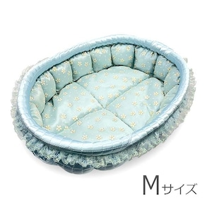 ふーじこちゃんママ手作り ぽんぽんベッド(サテンライトブルー・小さいお花柄)Mサイズ【PB7-176M】