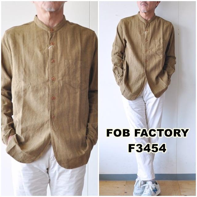 FOB FACTORY エフオービーファクトリー バンドカラーシャツ F3454 コットンリネン 綿麻 長袖シャツ メイドインジャパン(日本製)