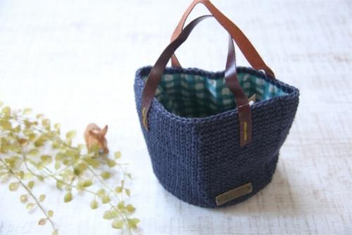 手編みの丸底バッグ*麻 ネイビー/sakura 型番:B-15ネイビー