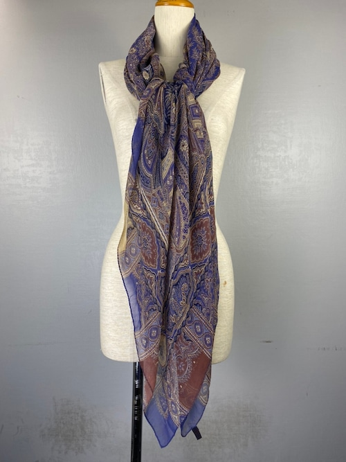 ETRO SILK 100% PAISLEY PATTERNED SQUARE LARGE SIZE SHAWL MADE IN ITALY/エトロシルク100%ペイズリー柄スクエア大判ショール(ストール)