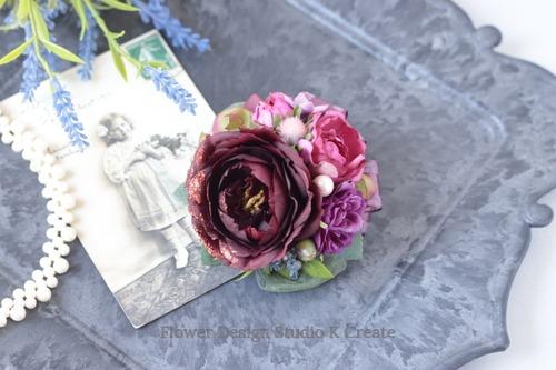 ボルドーの薔薇のコサージュ(ヘッドドレス可) 結婚式 フォーマル お洒落 パーティ ママコーデ 薔薇 結婚式