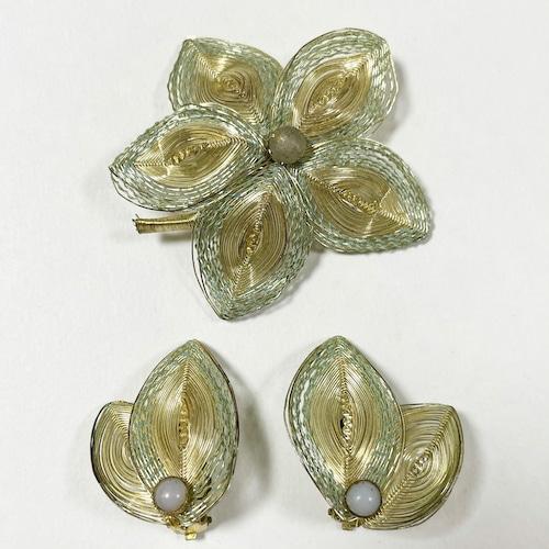 Vintag Spun Wire Work Earrings & Brooch Made In Germany