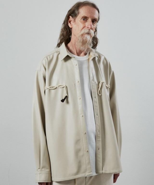 UNSELDs leather duffle shirt beige