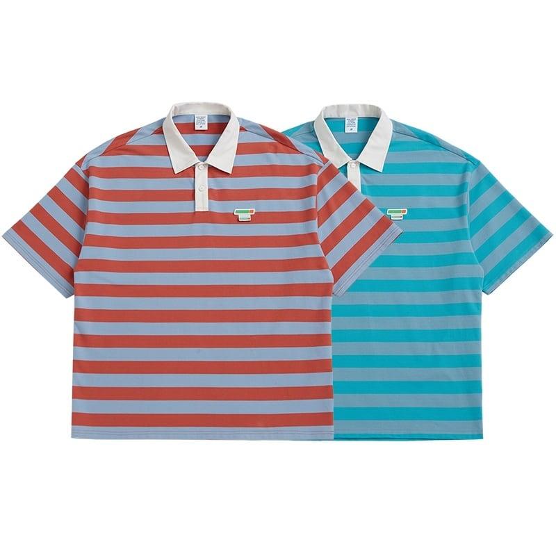 【UNISEX】ショートスリーブ カラード ボーダー ポロシャツ【2colors】UN-A0183