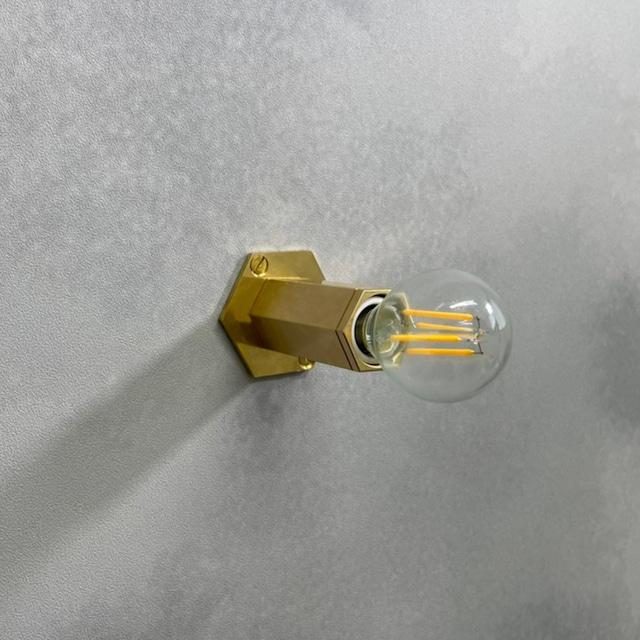 壁掛けブラケット HEXAGON 真鍮無垢 E17