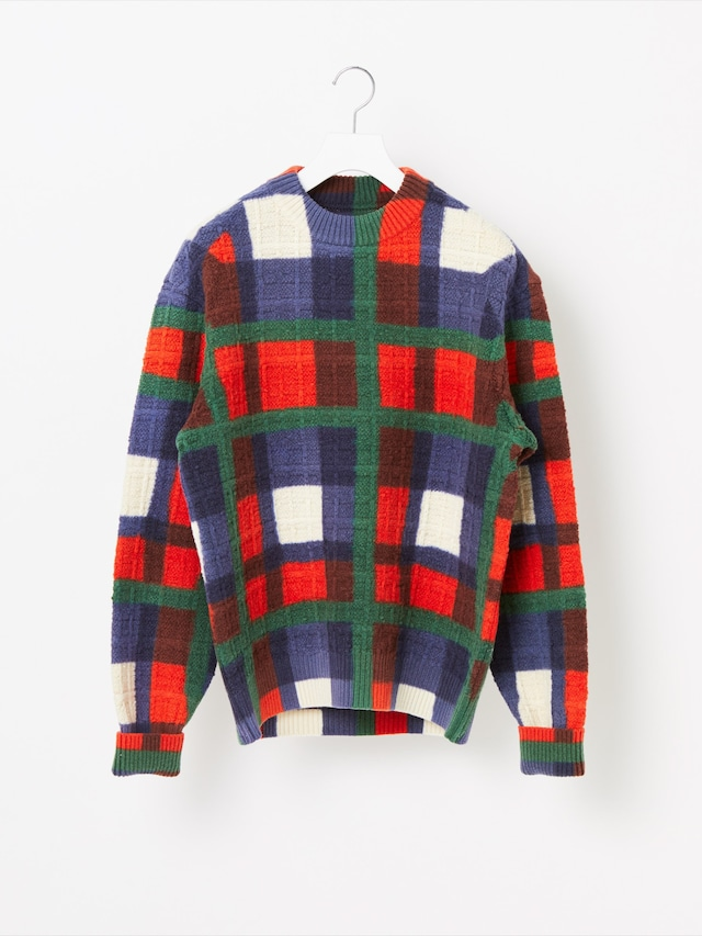 【COOHEM MEN】OVER-PRINTED CHECK KNIT PULLOVER