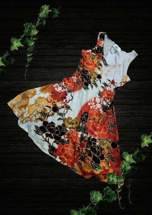 牡丹家紋紅白 ノースリーブAラインフレアドレス ベルベット or ジャージ