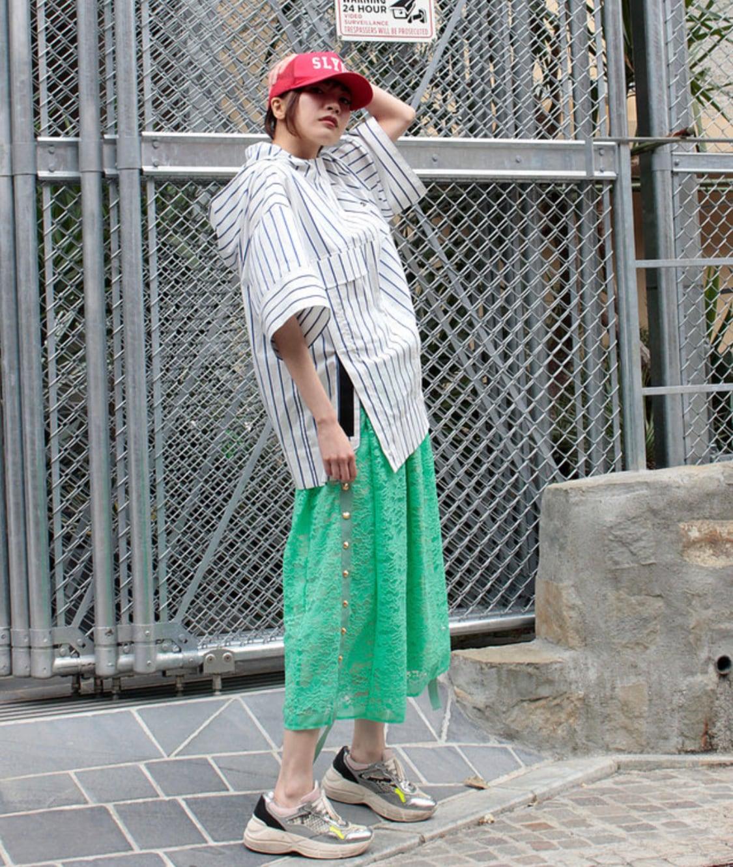 FLUMOR  Hoody stripe shirt blouson