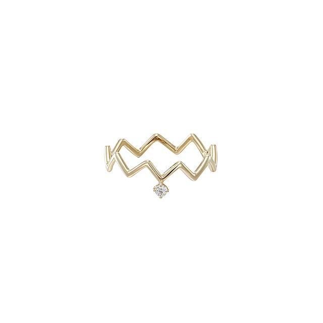 K18 Zig-Zag Ring with a Diamond (#1〜#4)