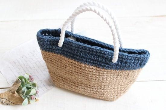 手編みのミニバッグ*ネイビー/sakura 型番:B-7