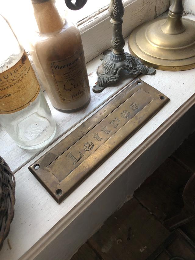 フランスアンティーク 真鍮レターポスト 郵便受け口