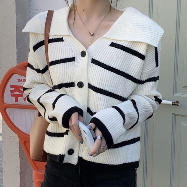 【アウター】優しい雰囲気カジュアル配色折り襟ゆったり着痩せ長袖カディーガン52685720