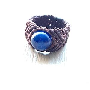 カイヤナイトのマクラメ編みリング