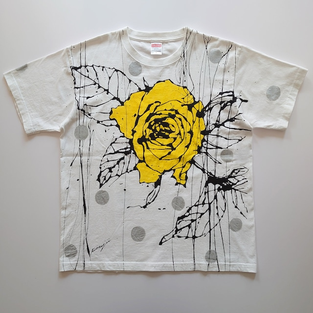 F's rose【 藤井清秀  Tシャツアート】イエロー薔薇シルバードット L
