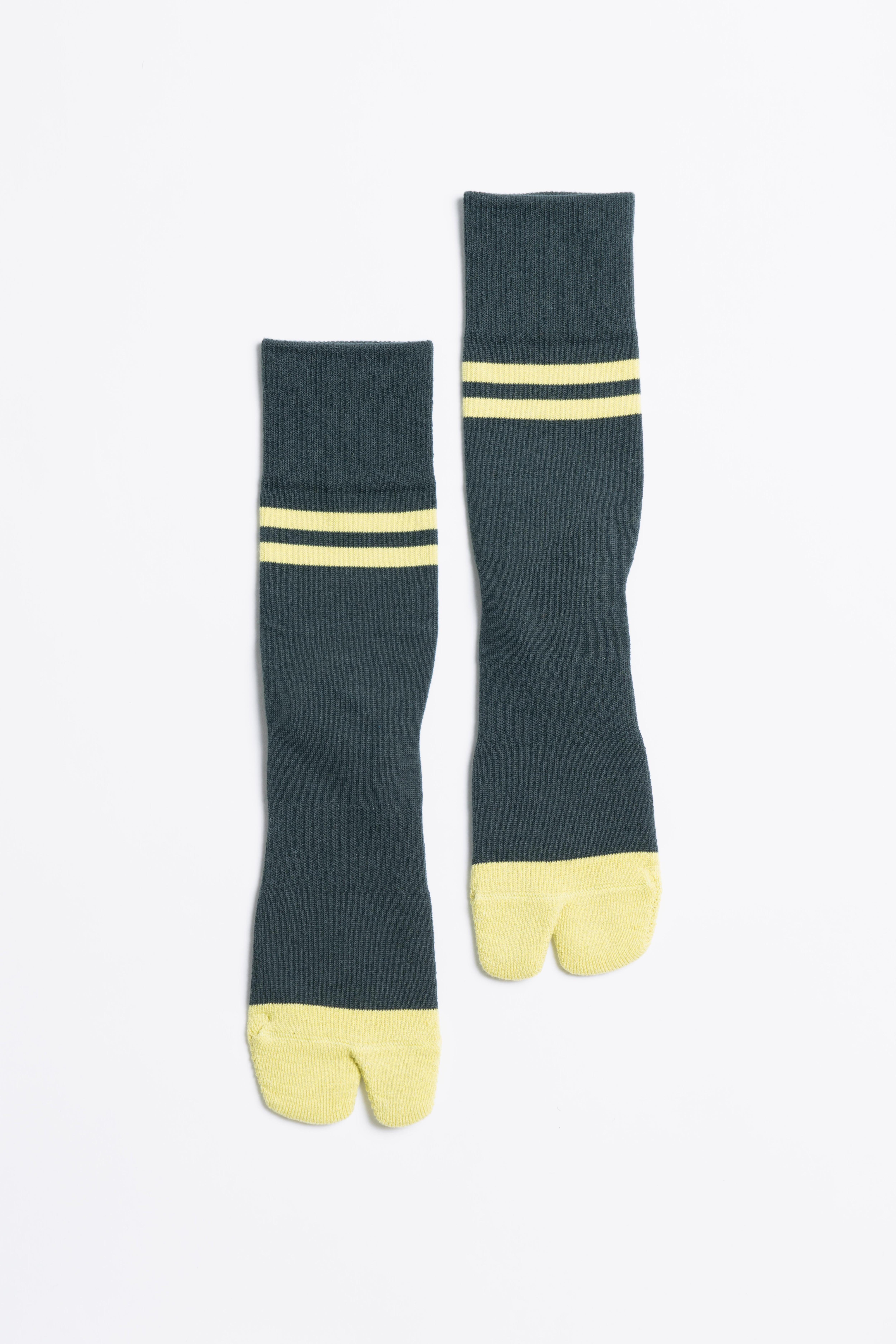 '90s Line Socks(Forest Green × Lime)