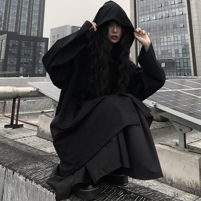 【都谷シリーズ】★アウター★ フード付き ゆったり 合わせやすい ブラック 黒い フリーサイズ 着痩せ