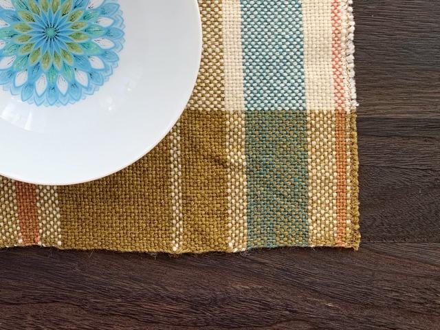 手織りランチョンマット「Yellow Gocha Mix 2」