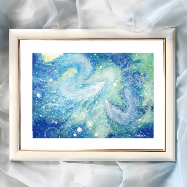 『水の龍神』【龍神絵画】太子サイズ 額入 ヒーリングアート