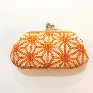 がまぐち財布008麻の葉柄白オレンジビーズ刺繍