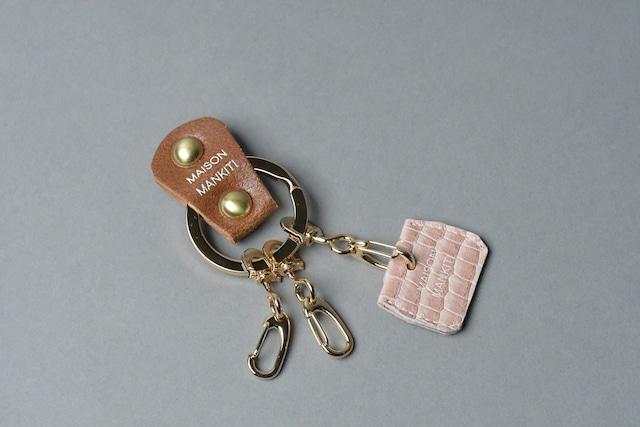 KEY RING・CAP ■ブラウンG・ペールピンク■_本革真鍮キーリング・キーキャップセット_ - メイン画像