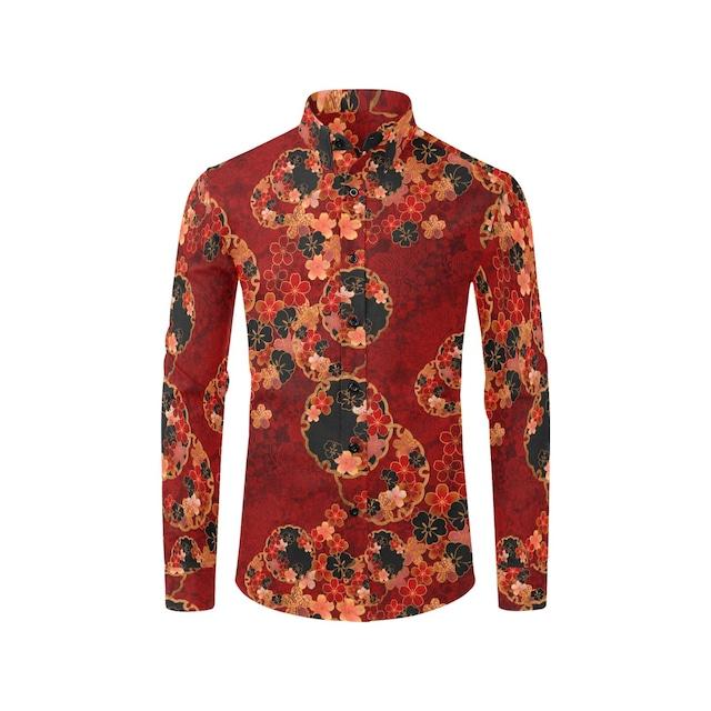 桜家紋蝶家紋雪輪 紅 ユニセックスサイズ長袖シャツ