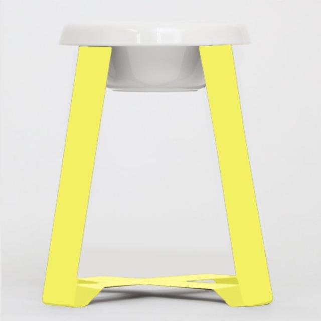【予約】Pecolo Food Stand Ltallセット 犬の生活限定色カナリヤイエロー +選べるフードボウル 陶器浅型 陶器深型