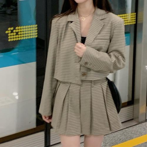 【2点セット】チェックジャケット+プリーツスカート ・18996