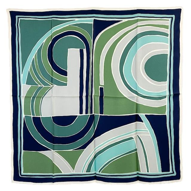 シルク100%|日本製|横浜スカーフ 手捺染 ステンドジオメ|クール&シックなイメージ♪【sp063】