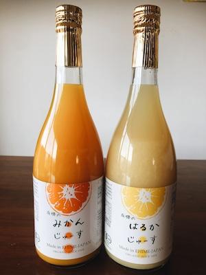 【贈答用】みかん・はるかジュース2本セット 愛媛の無農薬栽培みかん