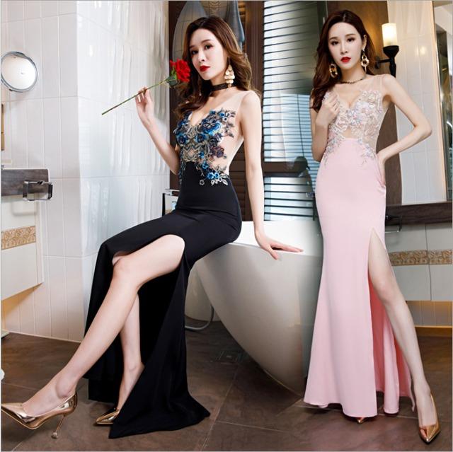 美しく刺繍されたフラワードレス ロングドレスYN2165