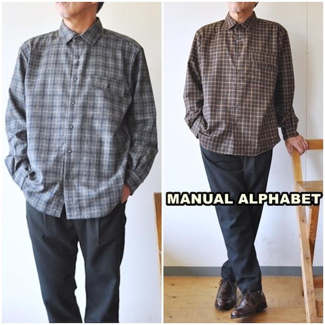 manualalphabet  マニュアルアルファベット ウールシャツ チェックシャツ 長袖シャツ MA-S-586 TWILL CHECK LOOSE FIT  レギュラーカラー