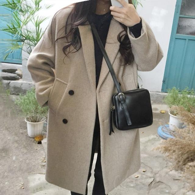 【アウター】ファッション簡約無地折り襟長袖ラシャロングコート24780917