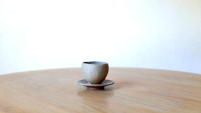 澁田寿昭「備前練込デミタスカップ&ソーサー(豆皿)」(s-33)