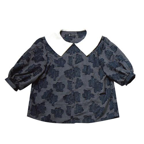 stripe flower quarter sleeves blouse