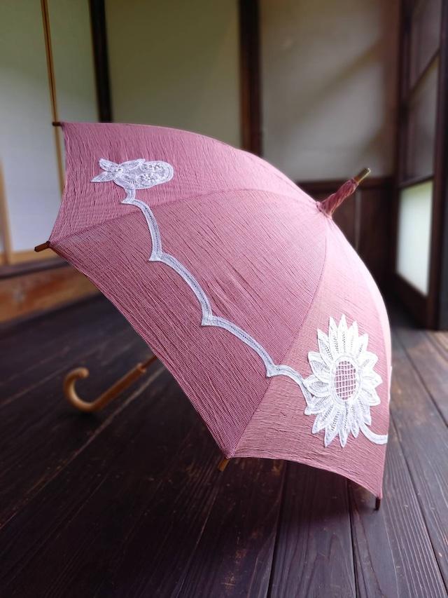 【小千谷縮使用】バテンレース日傘 千鳥格子赤 かわいいひまわり柄