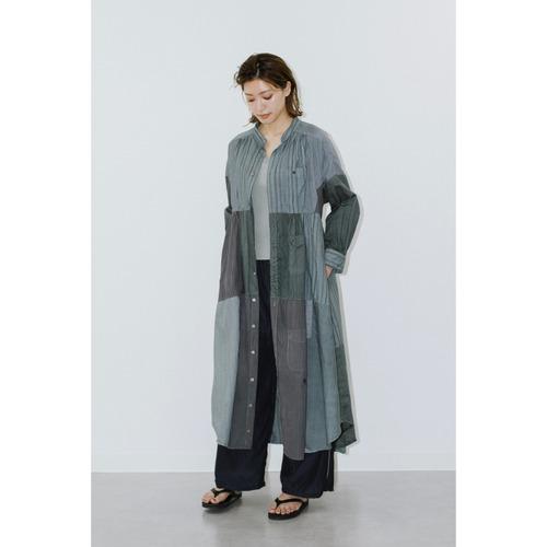 【RehersalL】stripe shirt patch onepiece(charcoal gray) /【リハーズオール】ストライプシャツパッチワンピース(チャコールグレー)