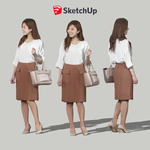 SketchUp素材 3D人物モデル ( Posed ) 051_Mao - メイン画像