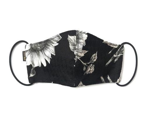 【新作夏用デザイナーズマスク COOLMAX使用 日本製】花柄マスク ブラック色