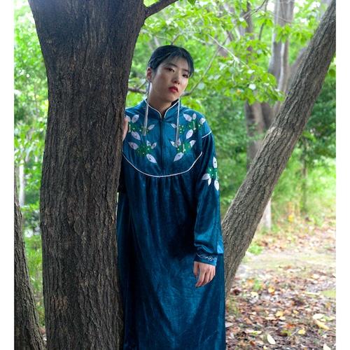Green velour flower ethnic dress