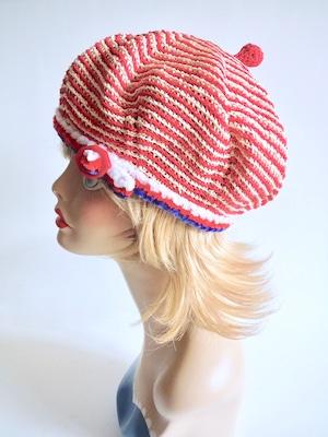 赤いバックルベレー帽<トリコロールカラー>M58cm