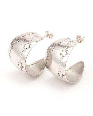 Vintage Silver hoop pierced earrings