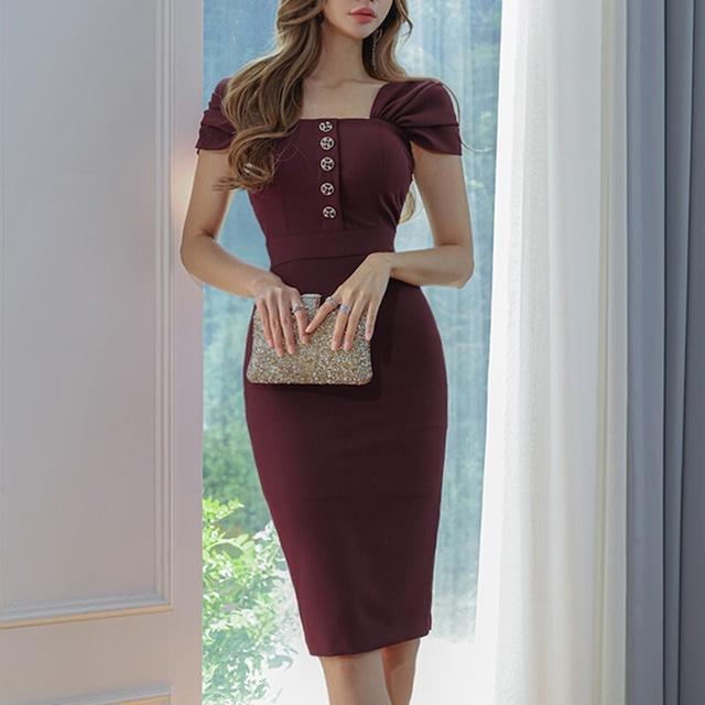 ワンピース OL/フォーマルワンピース 女性らしい スクエアネック 半袖 バーガンディー アプリコット S M L XL