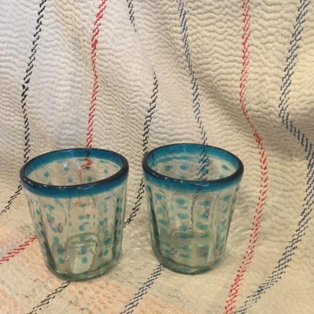 メキシコ リサイクル水玉タンブラー ライトブルー